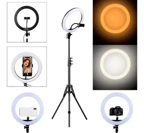 Ring light 10 tripé 210cm led portátil 26cm suporte