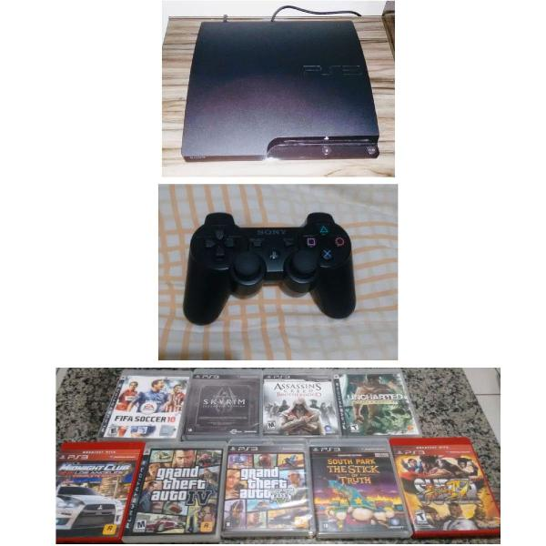 Super combo gamer! ps3 slim+ controle dualshock+ 9 jogos
