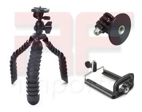 Tripé flexível octopus c/ adaptador gopro 28 cm até 3kg