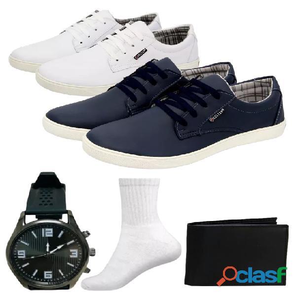 Combo 2 pares de sapatênis + 1 relógio de pulso + 2 pares de meias e carteira