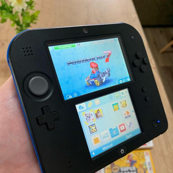 Nintendo 2ds azul preto