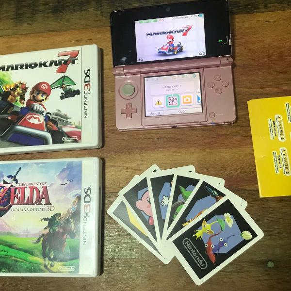 Nintendo 3ds + mario kart 7 + zelda ocarina of time