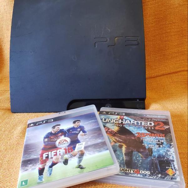 Playstation ps3 slim 320gb sem controle e 2 jogos