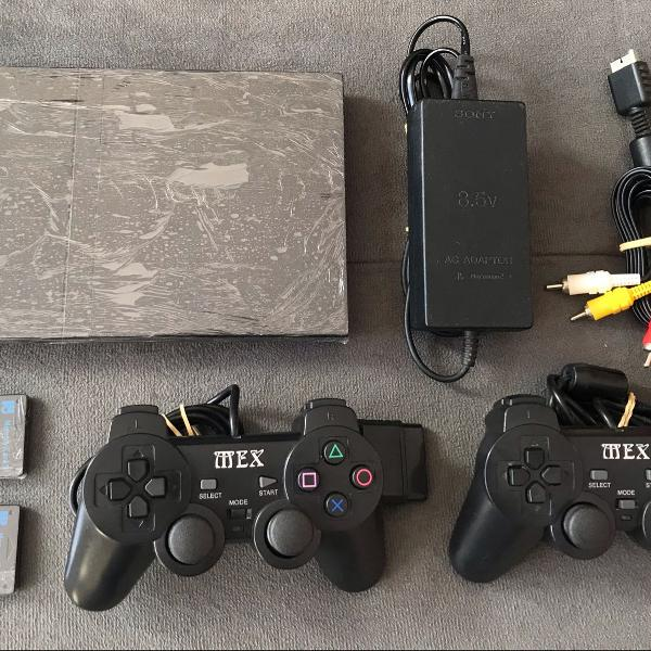 Ps2 console completo + 2 controles + 2 memory cards