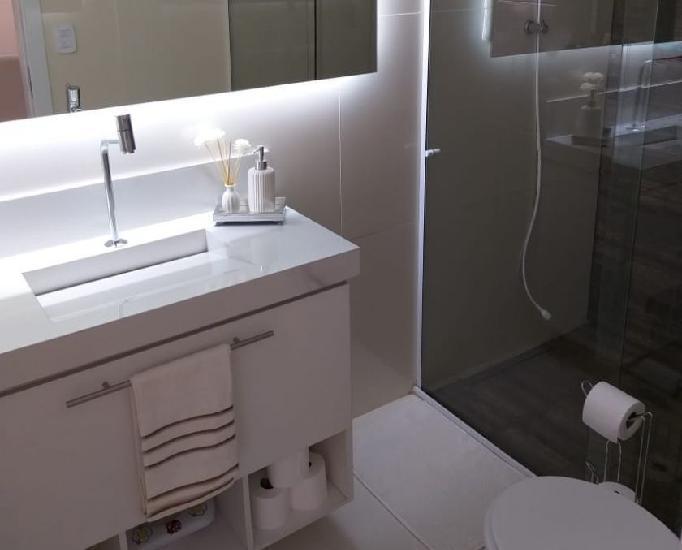 Armário para banheiro com lavatório em porcelanato