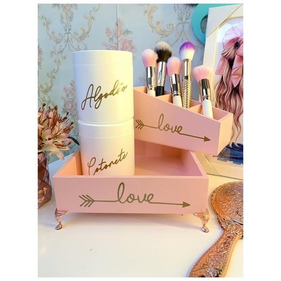 Kit love rosa blush 4 peças (bandeja + potes + porta