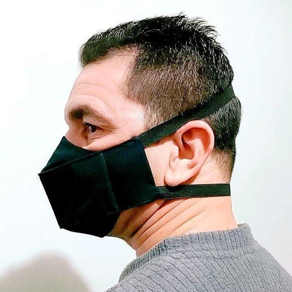 Mascara de tecido masculina tripla proteção elástico na
