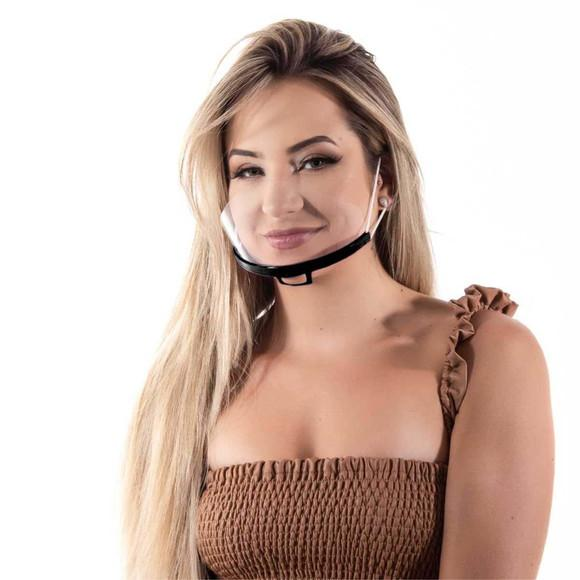 Mascara de proteção semi facial transparente