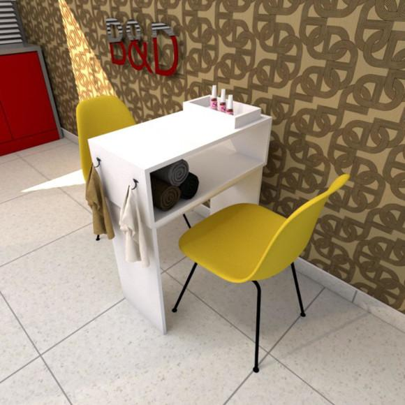 Mesa para manicure mdf branco 60x75x30