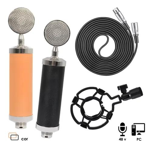 Microfone condensador xlr,studio cabo+shockmount+pop bm 800