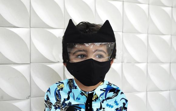 Máscara adulto e infantil viseira protetora batman