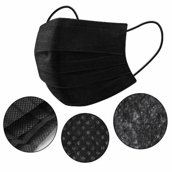 Máscara em tnt tripla proteção - kit com 10 pretas