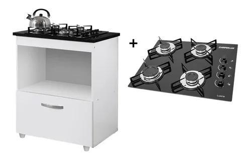 Kit balcão cooktop 1 porta br c/fogão cooktop 4 bocas