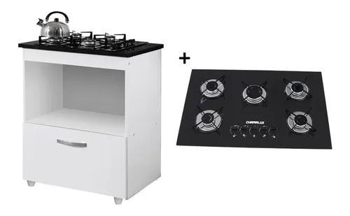 Kit balcão cooktop 1 porta br c/fogão cooktop 5 bocas