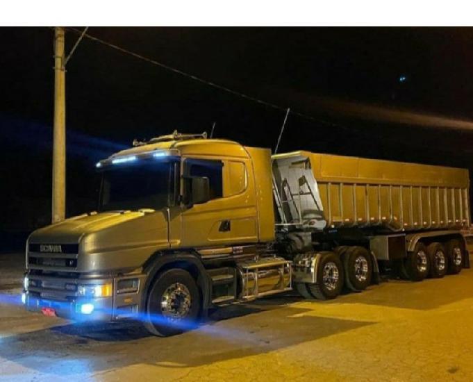 Scania 124 engatado na caçamba