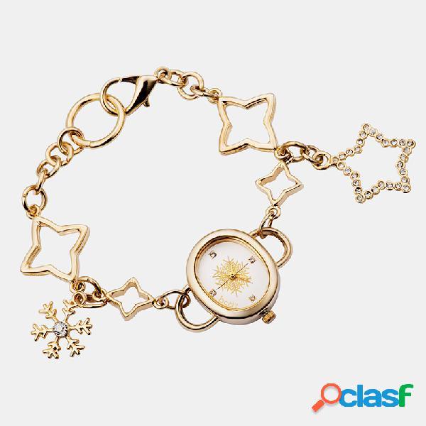 Moda criativa mulheres relógio de pulso mostrador oval de prata dourada estrela pulseiras relógio de quartzo