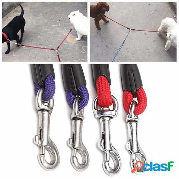 48cm dog leilões nylon leading com 2 fivelas pet coupler twin leads supplies
