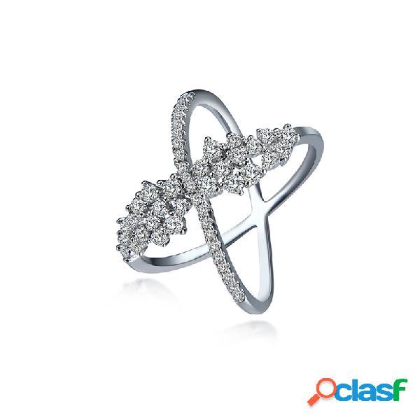Anel de luxo da mulher cross platinum zircon ring