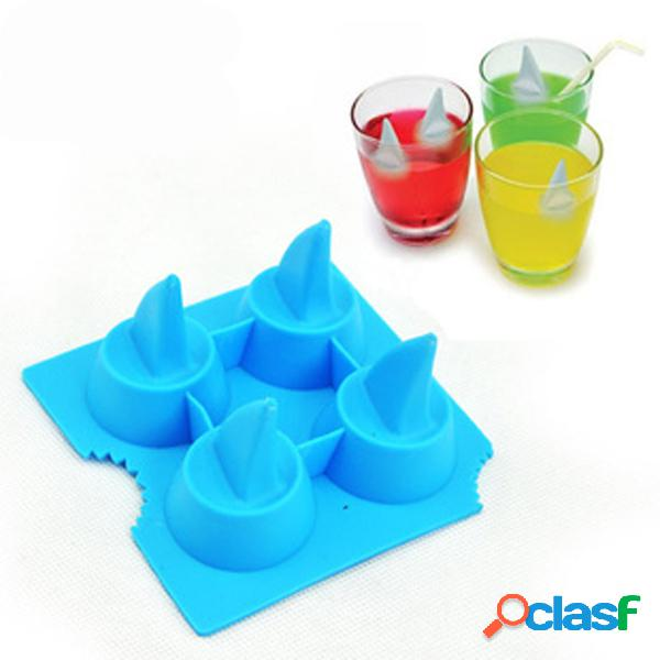 Silicone shark fin ice tray cube freeze maker molde de molde de chocolate