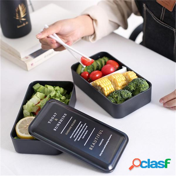 Bento caixa portátil do forno de microonda do recipiente de armazenamento do alimento do almoço da dupla camada caixa