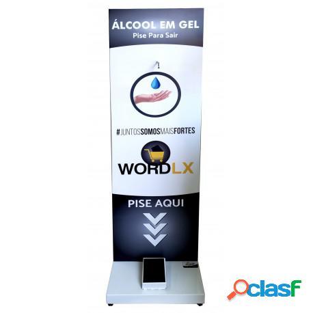 Suporte em aço para álcool em gel 150x45x45cm