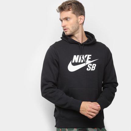 Moletom nike icon pullover capuz masculino - preto+branco gg