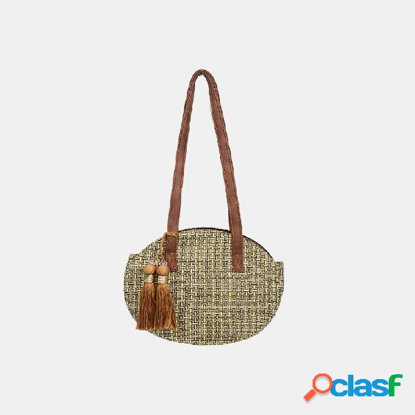 Mulheres praia tassel bolsa de palha de grande capacidade