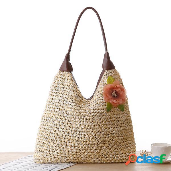 Palha praia bolsa ombro flor pastoral bolsa tote sólido bolsa