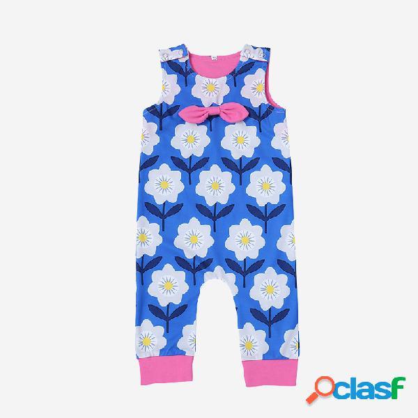 Macacão azul casual sem mangas com estampa floral para bebê para 6-24m
