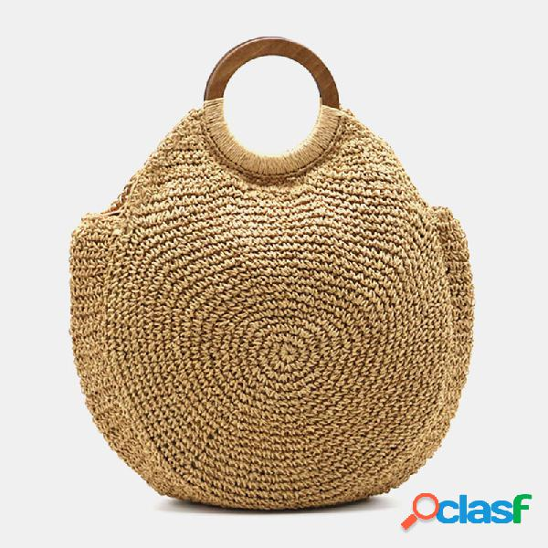 As mulheres viajam no verão praia grande capacidade ombro bolsa de palha bolsa