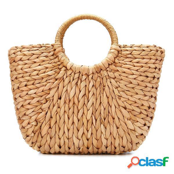 Palha bolsa mulheres verão rattan bolsa handmade tecido círculo bohemia praia bolsa