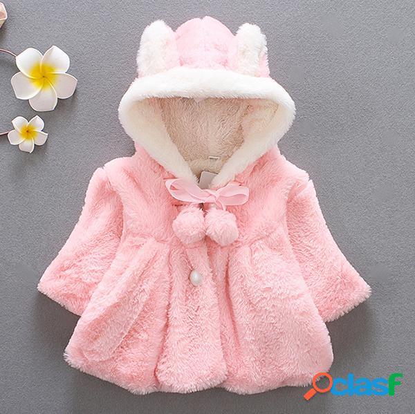 Casaco quente infantil de capa pêlo grosso com capuz