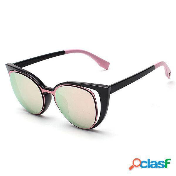 Óculos de sol femininos elegantee com forma de olhos de gato óculos vintages casuais furados com uv400