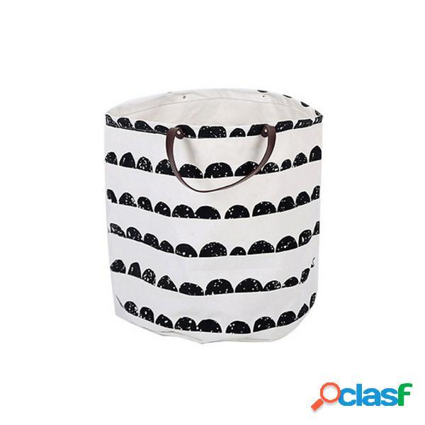 Tela lavandaria cesta de armazenamento bebê brinquedos para crianças pele de recipiente pega de couro