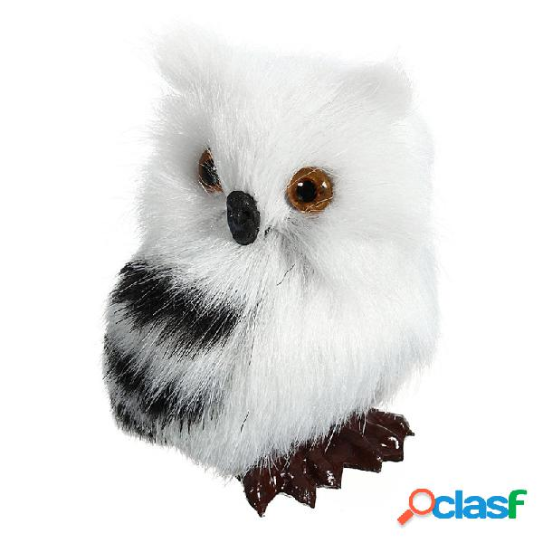 """Coruja branco preto furry ornamento de natal decoração adornamento simulação h2.75 """""""
