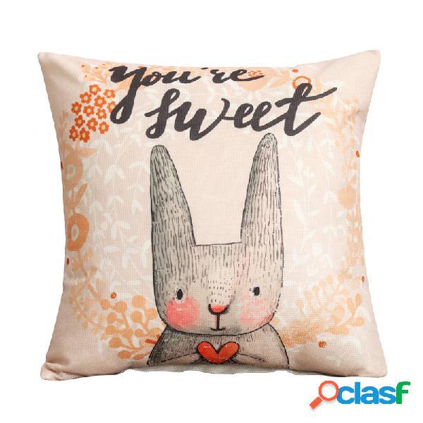 Lindo coelho dos desenhos animados padrão travesseiro de linho caso sofá de tecido casa capa de almofada mediterrânea