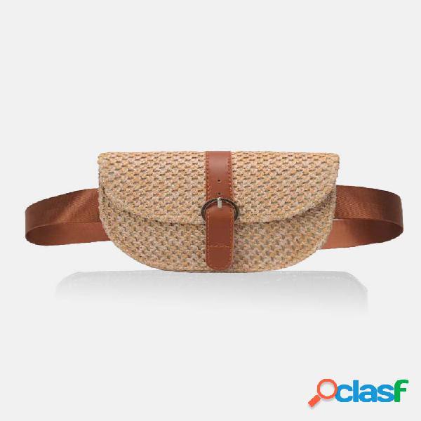 Mulheres tecido peito bolsa palha bolsa praia cintura bolsa mini crossbody bolsa