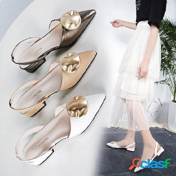 Com uma palavra fivela com sapatos únicos oco baotou sandálias feminino apontado grosso com salto alto novos sapatos femininos