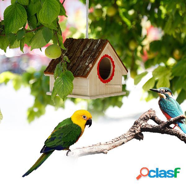 Ninho de pássaro criativo simulado bark house shape bird breeding caixa brinquedos para animais de estimação