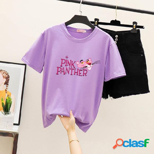 Marca das mulheres em torno do pescoço pulôver estudante moda carta impressão de manga curta t-shirt