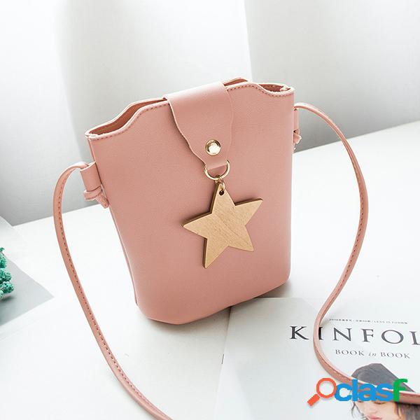 Lucky star bucket bolsa menina telefone de ombro com borla bolsa para mulheres