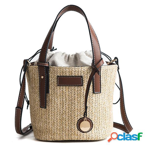 Palha praia bolsa balde bolsa bolsa ombro bolsa para mulheres