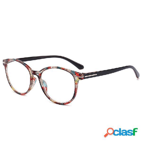 Óculos de leitura retro redondos estampados armação total pc lente de resina hd