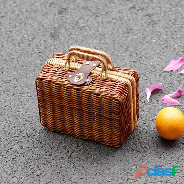 Rattan handmade das mulheres caixa palha bolsa praia armazenamento bolsa vintage bolsa