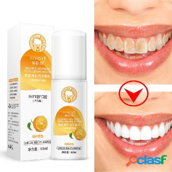 Dentes branqueamento de espuma de respiração fresca remover preto amarelo fumaça manchas de chá portátil oral freshener