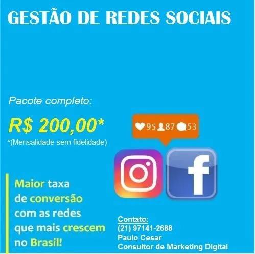 Gestão de mídias sociais (instagram e facebook)