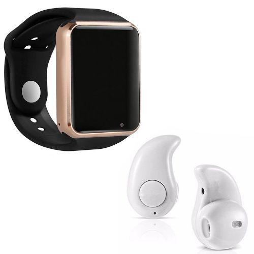 Kit 1 rel/u00f3gio smartwatch a1 dourado com preto + 1 mini