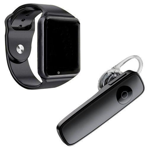 Kit 1 rel/u00f3gio smartwatch a1 preto + 1 fone de ouvido