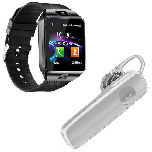 Kit 1 rel/u00f3gio smartwatch dz09 preto + 1 fone de ouvido