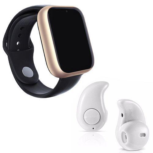 Kit 1 rel/u00f3gio smartwatch z6 dourado + 1 mini fone